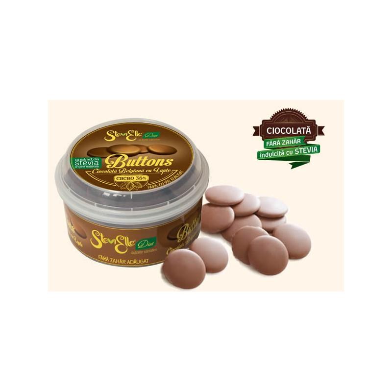 Butoni de ciocolata belgiana cu lapte indulcita cu Stevia
